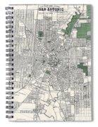 San Antonio Texas Hand Drawn Map  1909 Spiral Notebook