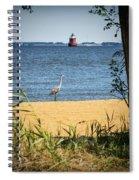 Sandy Pt Shoal Lighthouse And Blue Heron Spiral Notebook