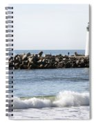 Santa Cruz Lighthouse Wave Wide Spiral Notebook