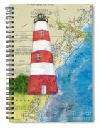 Sapelo Island Lighthouse Ga Nautical Chart Map Art Cathy Peek Spiral Notebook