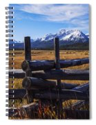 Sawtooth Mountains And Wooden Fence Spiral Notebook