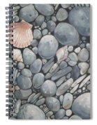 Scallop Shell And Black Stones Spiral Notebook
