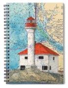 Scarlett Pt Lighthouse Bc Canada Chart Art Spiral Notebook