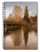 Scenic Golden Wooden Bridge Tree Reflection On The Deschutes River Spiral Notebook