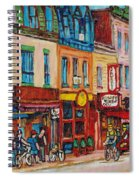 Schwartzs Deli And Warshaw Fruit Store Montreal Landmarks On St Lawrence Street  Spiral Notebook