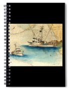 Scooter Fishing Boat Nautical Chart Map Art Spiral Notebook
