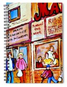 Scooting By The Main Steakhouse Authentic Montreal Paintings Prints Originals Commissions C Spandau Spiral Notebook