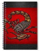 Scorpion On Red And Black Leather Spiral Notebook