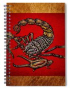 Scorpion On Red And Brown Leather Spiral Notebook
