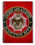 Scottish Rite Double-headed Eagle On Red Leather Spiral Notebook