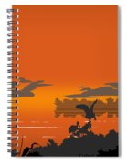 Abstract Tropical Birds Sunset Large Pop Art Nouveau Landscape 4 - Right Side Spiral Notebook