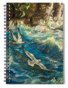 Seagulls Over The Rough Sea Spiral Notebook