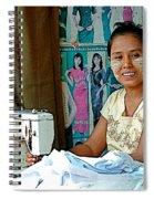 Seamstress At Her Sewing Machine In Tachilek-burma Spiral Notebook