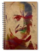 Sean Connery Actor Watercolor Portrait On Worn Distressed Canvas Spiral Notebook