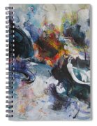 Seascape Abstract Painting Blue Purple Orange Acrylic Painting Spiral Notebook