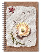 Seashell With The Pearl Sea Star And Seaweed  Spiral Notebook