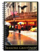 Season's Greetings - Yellow And Blue Umbrella - Holiday And Christmas Card Spiral Notebook