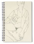 Seated Female Nude With Open Blouse Spiral Notebook