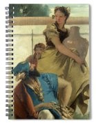 Seated Man Woman With Jar And Boy Spiral Notebook