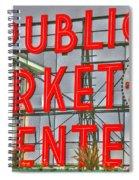 Seattle Public Market Center Clock Sign Spiral Notebook