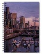 Seattle Skyline Bell Harbor Dusk Spiral Notebook