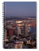 Seattle Skyline With Mount Rainier And Downtown City Lights Spiral Notebook