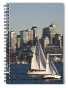 Seattle Skyline With Sailboats Spiral Notebook