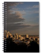 Seattle Skyline With Space Needle And Stormy Weather With Mount  Spiral Notebook