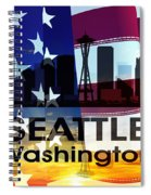 Seattle Wa Patriotic Large Cityscape Spiral Notebook