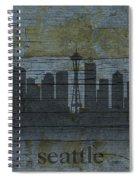 Seattle Washington City Skyline Silhouette Distressed On Worn Peeling Wood Spiral Notebook