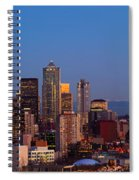 Seattle Winter Evening Panorama Spiral Notebook
