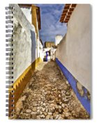 Secluded Cobblestone Street In The Medieval Village Of Obidos IIi Spiral Notebook