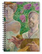 Self-portrait With Muse And Buddleia Spiral Notebook