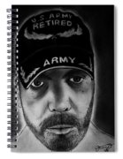 Self Portrait With Us Army Retired Cap Spiral Notebook
