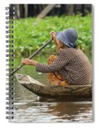 Senior Woman Paddling A Boat Spiral Notebook