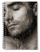 Sensual Portrait Of Man Face Under Pouring Water Black And White Spiral Notebook