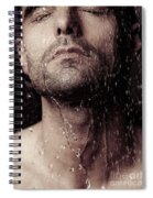 Sensual Portrait Of Man Face Under Shower Spiral Notebook