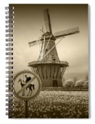 Sepia Colored No Tilting At Windmills Spiral Notebook