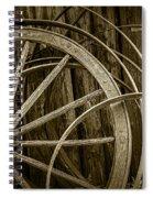 Sepia Photo Of Broken Wagon Wheel And Rims Spiral Notebook