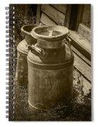 Sepia Photo Of Vintage Creamery Cans At The Old Prairie Homestead Near The Badlands Spiral Notebook