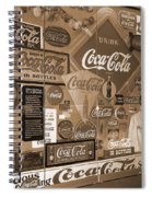 Sepia Toned Signs Of Coca Cola Spiral Notebook