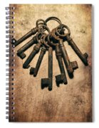 Set Of Old Rusty Keys On The Metal Surface Spiral Notebook