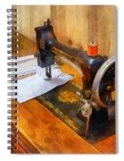 Sewing Machine With Orange Thread Spiral Notebook