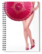 Sexy Asian Woman With Red Oriental Umbrella Spiral Notebook