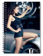 Sexy Mechanic Girl Posing With Cars Spiral Notebook