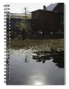 Shack And House Along With Weeds Right On Shore Of Dal Lake Spiral Notebook
