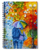 Sharing Love On A Rainy Evening Original Palette Knife Painting Spiral Notebook