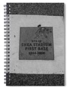 Shea Stadium First Base In Black And White Spiral Notebook