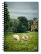 Sheep Grazing By Castle Spiral Notebook