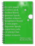 Sheldon Cooper - Rock Paper Scissors Lizard And Spock Spiral Notebook